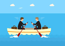 different-directions-two-businessmen-same-boat-rowing-against-each-other-not-moving-metaphor-effects-45064793